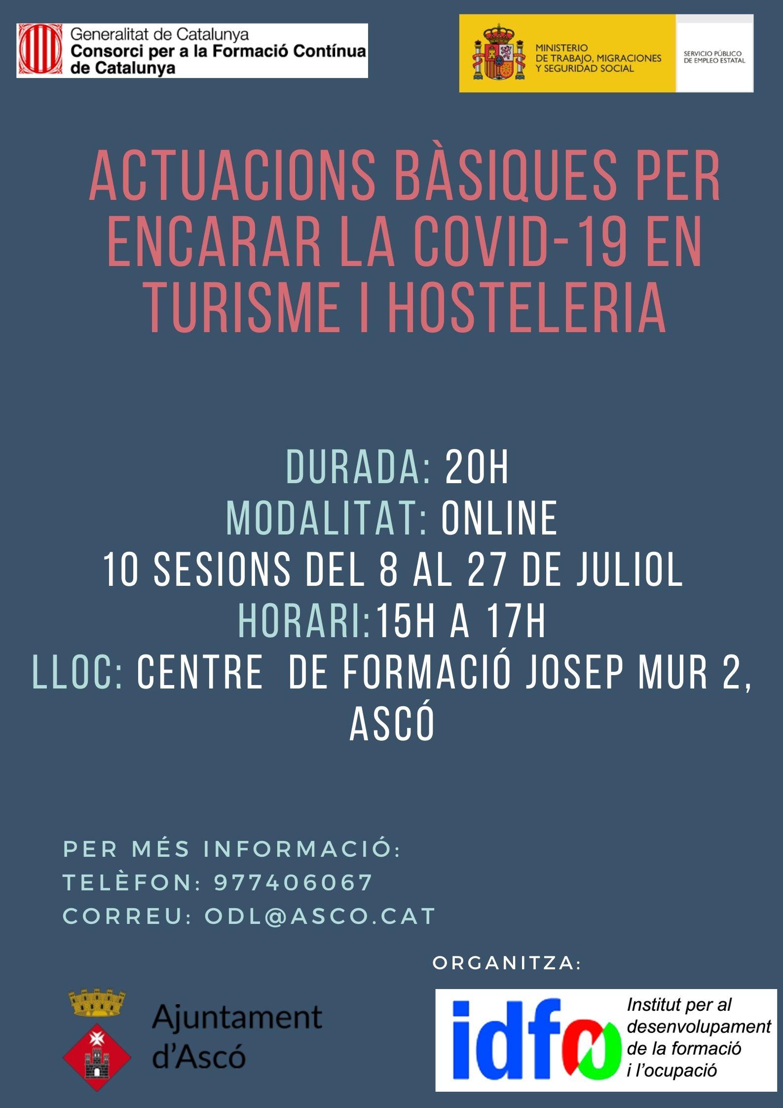 FORMACIÓ: ACTUACIONS BÀSIQUES PER ENCARAR LA COVID-19 EN TURISME I HOSTELERIA